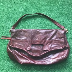 Foley + Corinna maroon satchel purse handbag fold